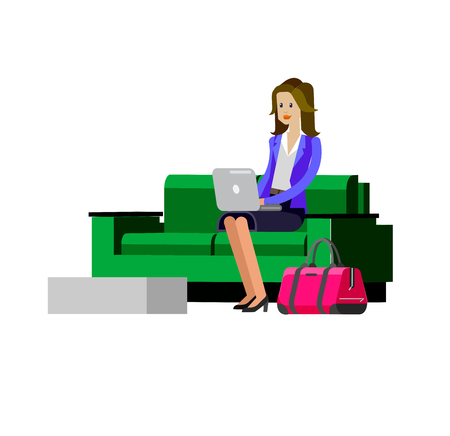 Vector detailed characters people in airport lounge. Woman goes VIP lounge Airport, people baggage claim, waiting hall flat  illustration isolated on white background. Иллюстрация
