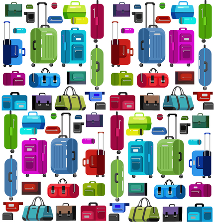 travel bag: Travel bags in various colors.Travel bags in various colors. Luggage suitcase and Travel  bag isolated on white background. Vector travel bags. Illustration bag pattern isolated on white background.