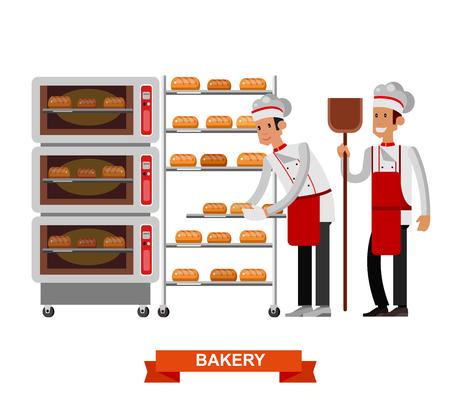 詳細な文字シェフ、調理パン調理パン、ベーカリー インテリア専門オーブン、白い背景で隔離のフラットなデザイン ベクトル図をベクトルします。 写真素材 - 57444183