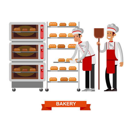 dough: Vector detailed characters chef, Cook baker cooking bread, bakery interior with professional oven, flat design vector illustration isolated on white background.