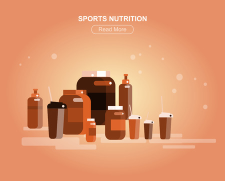 sculpt: Gym design concept with with fitness and sports nutrition, cool flat  illustration. Web banner template