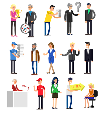 telephone icon: Vector detailed characters people, business people men and women in action. Business people shake hands, with a briefcase, secretary, big boss, startup man, colleagues, business people lifestyle