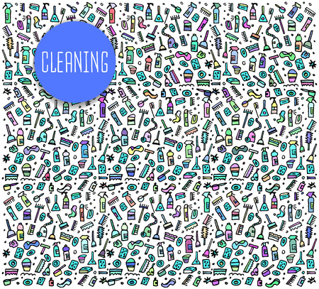 sketchy illustration: Hand drawn cleaning tools seamless logo, cleaning tools doodles elements, cleaning seamless background. cleaning sketchy illustration Illustration
