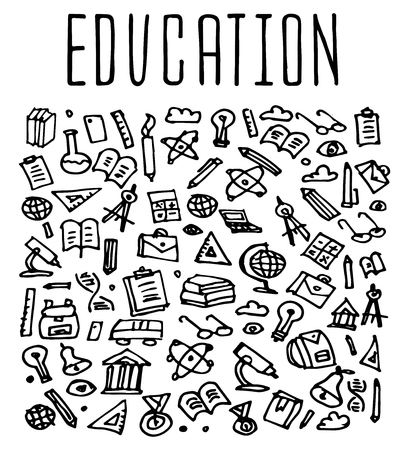 sketchy illustration: Hand drawn School education seamless logo, School education doodles elements, School education seamless background. School  Vector sketchy illustration