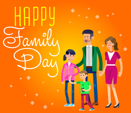 mom and dad: illustration of International day of Families. Happy family, mom dad and their children, boy and girl