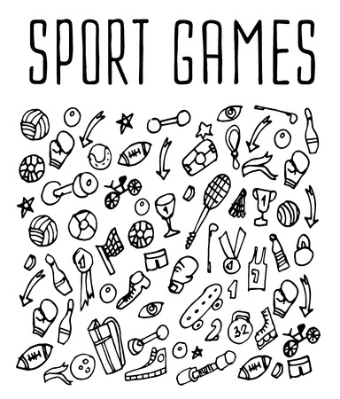 games hand: Sport games hand drawn seamless logo. Backgrounds Sport games, wrapping, wallpapers Sport games, textile prints. Vector illustration of doodle Sport games elements Illustration