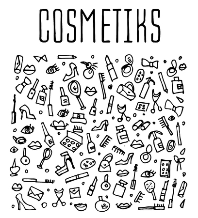 autocuidado: cosméticos del doodle, spa, y los iconos de autocuidado. Dibujado a mano logotipo de cosméticos sin fisuras. Fondos con los cosméticos, embalaje, fondos de pantalla e imprime los textiles cosméticos
