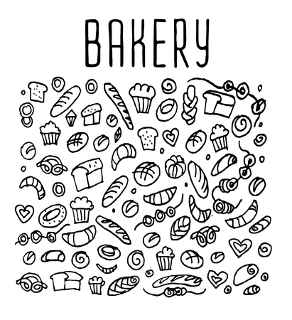 sketchy illustration: Hand drawn bakery seamless logo,  bakery doodles elements,  bakery seamless background. Bakery Vector sketchy illustration