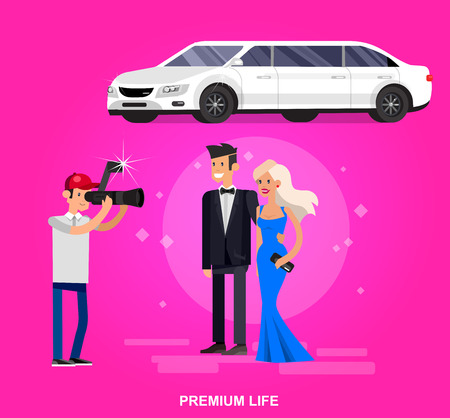 film title: Vector detailed character rich and beautiful celebrities, man in tails and blond woman in evening dress, celebrities walking on a red carpet, celebrities with limousine