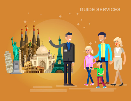 High quality, detailed most famous World landmarks. Characters Family on guided tours. Travel vector. Travel illustration. Travel landmarks. Happy travel Illustration
