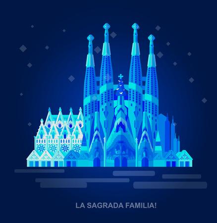 Alta calidad, detallada monumento más famoso del mundo. Ilustración del vector de la Sagrada Familia. vector viajar. Ilustración del recorrido. las señales del recorrido Ilustración de vector