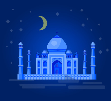 agra: High quality, detailed most famous World landmark. Vector illustration of Taj Mahal an ancient Palace in India. Travel vector. Travel illustration. Travel landmarks. Happy travel