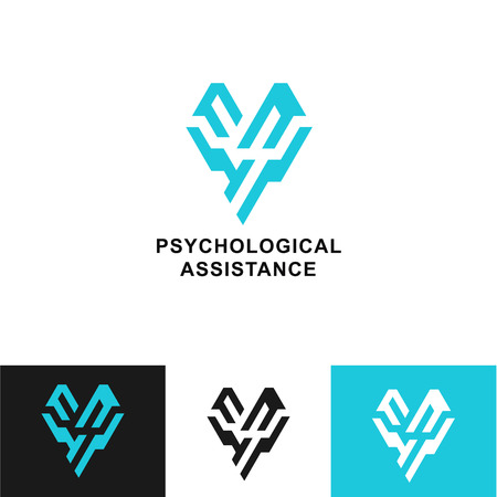 sad lonely girl: Business Icon - Vector logo design template. Abstract emblem for psychological assistance, help