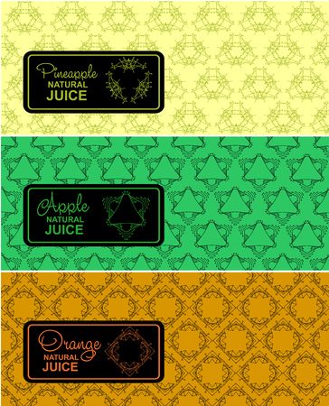 freshly: Seamless logo with label for natural juice, freshly squeezed juice packaging. Linear vector illustration for apple juice, orange juice, pineapple juice packaging Illustration