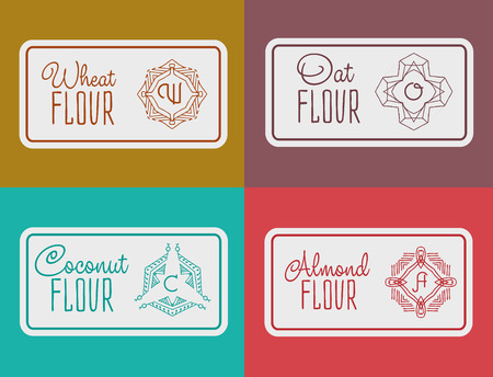 oat: label for flour packaging. Linear vector illustration for flour packaging. Packaging  for wheat flour, coconut flour, oat flour, almond flour Illustration