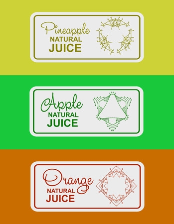 apple juice: label for natural juice, freshly squeezed juice packaging. Linear vector logo illustration for apple juice, orange juice, pineapple juice