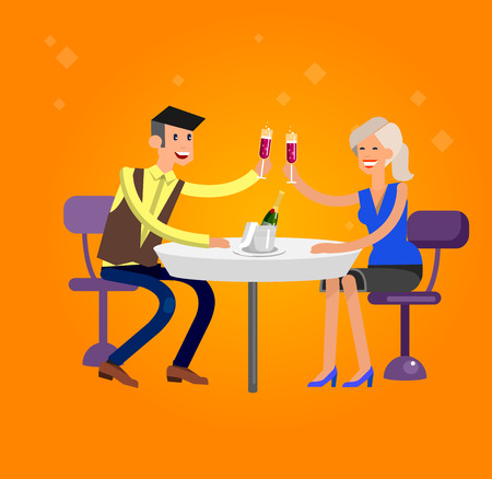 guests: Vector detailed character people in the restaurant, service for public and personnel, couple celebrating in restaurant, restaurant waiter serves guests. Vector restaurant illustration Illustration