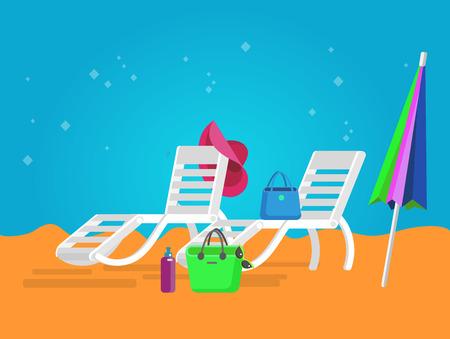 longue: vector beach chaise longue, beach chaise longue illustration on background. Vector beach chaise longue