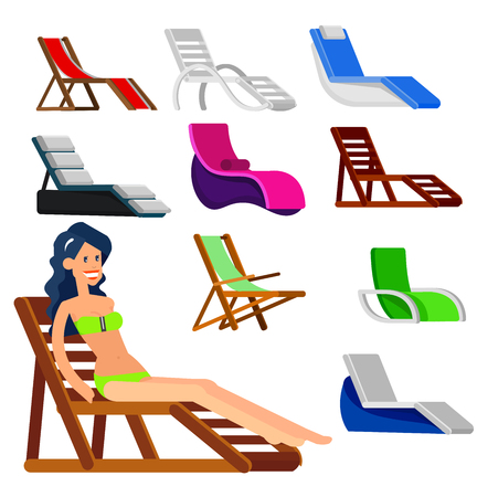 longue: beach chaise longue in different design. Detailed character woman lies in a beach chaise longue.Vector beach chaise longue set