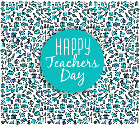 school kit: Teachers day. School doodles Supplies. Composition for Teachers day. Hand Drawn Vector Illustration for Teachers day .Design Elements