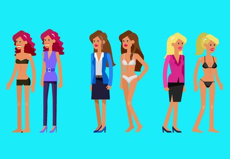 femme se deshabille: Vector d�taill�e femme de caract�re habill� et d�shabill�, dans la lingerie. Illustration de femme habill�, femme d�shabill�e Illustration