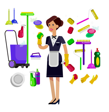 whisk broom: Poster design for cleaning service and cleaning supplies. Vector detailed character professional housekeeper. Cleaning kit icons isolated on white background. Vector cleaning. Illustration cleaning