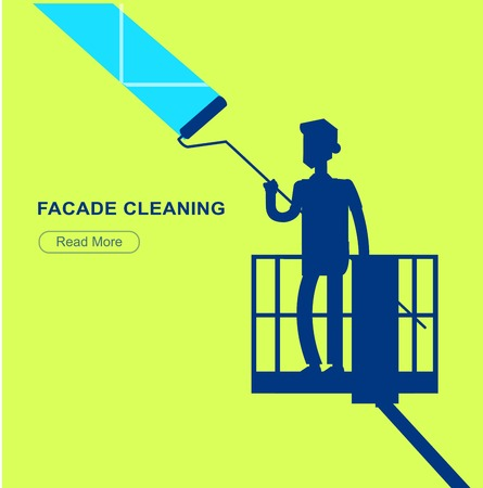 window washer: Illustration of a window washer cleaner cleaning a window. Vector silhouette character men worker on lift Illustration