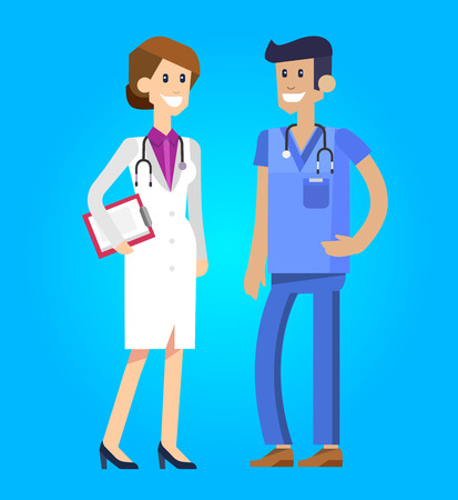 physiotherapist: Vector detailed doctor character man, doctor  woman and nurse. Medical doctor team. Vector illustration doctor. Funny character doctor.