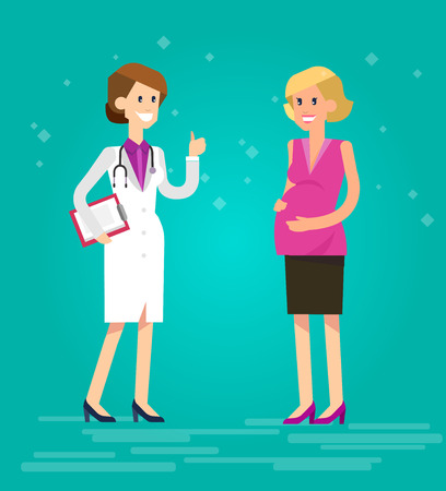 obstetrician: Vector detailed character happy pregnant woman having a doctor visit in hospital. Gynecologist woman indicates that everything is OK. Cool flat  illustration Illustration