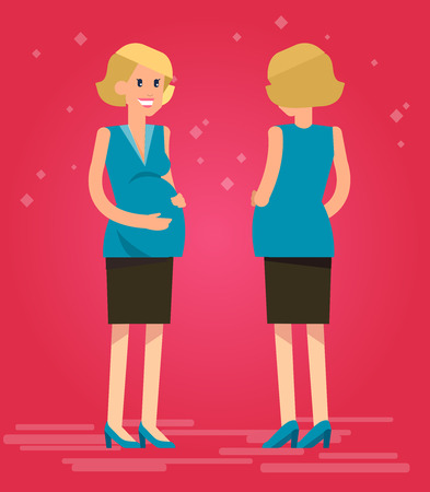 happy pregnant: Vector detailed character happy pregnant woman In the front and in the back. Cool flat pregnant woman illustration. Vector pregnant woman