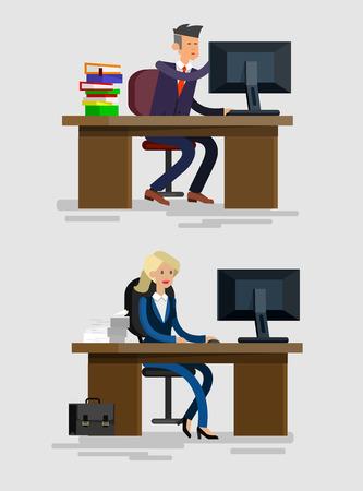 Vecteur caractère détaillé Employé de bureau d'entreprise, l'équipe des gens d'affaires assis derrière un bureau. Employés de bureau. Les hommes et les femmes des travailleurs de bureau. Employé de bureau cool illustration plat Banque d'images - 57444757