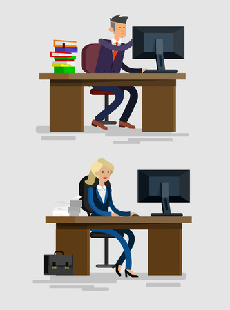 casters: Vector detailed character corporate Office worker, business team people sitting behind desk. Office workers. Men and women office worker. Office worker cool flat  illustration Illustration