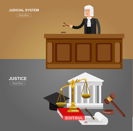 judiciary: Law horizontal banner set with judical system elements and Law Vector detailed character the judge and the lawyer, Law cool flat  illustration, Law vector