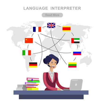 Vector detaillierte Charakter Sprache Übersetzer Konzept mit Sprache Übersetzer Frau und Weltkarte mit Flaggen der Weltsprachen, Sprache Übersetzer Illustration. Vector Sprache Übersetzer