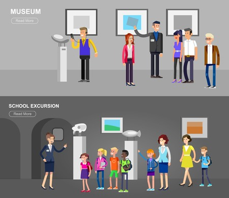 art museum: Funny character people in museum. Archeological museum of antiquity and natural science museum exposition for children, museum guided tour, exhibition space, museum audioguide, museum flat banner Illustration