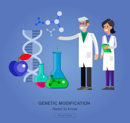genetic engineering: detailed character men and woman scientis, laboratory technician. Biotechnology icons concept, composition of genetic engineering