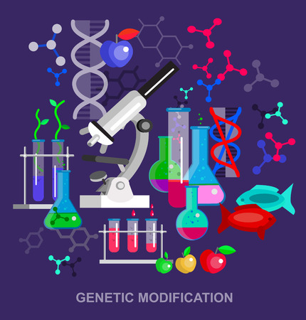 modification: Biotechnology science concept, composition of genetic engineering, nanotechnology and genetic modification with microscope