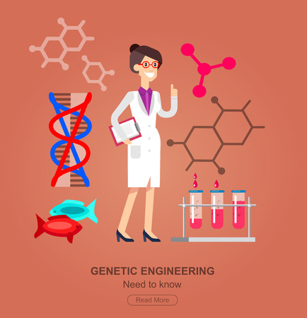 genetic engineering: detailed character woman scientis. Biotechnology icons concept, composition of genetic engineering
