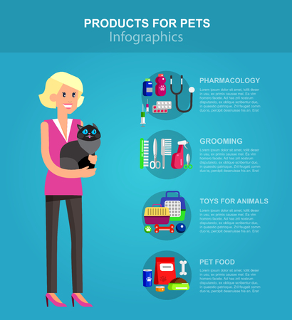 cat grooming: Infographic product for pets and veterinary, high quality character design veterinarian with cat, pet shop. Pets accessories and vet store, grooming tools, veterinary pharmacy Illustration