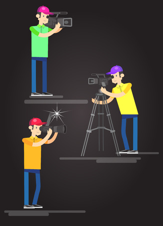videographer: cool detailed character Photographer and videographer with camera photographs. Vector Photographer and videographer . Illustration Photographer and videographer set