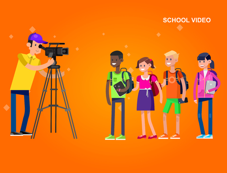 videographer: cool detailed character videographer with camera photographs school children, a boy and a girl