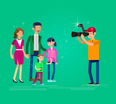 cool detailed character Photographer and videographer with camera photographs family people Vektorové ilustrace