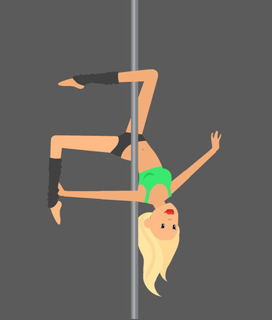 pole dance: Vector detailed character Fit woman dancing around the pole. Pole dance training. Happy and sporty woman. illustration. Pole dance training for sexy woman