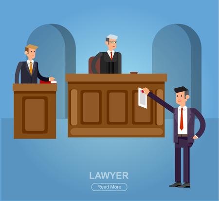 La bandiera orizzontale di legge ha messo con gli elementi del sistema giudiziario e la legge Vector il carattere dettagliato il giudice e l'avvocato, illustrazione piana fresca di legge, vettore di legge