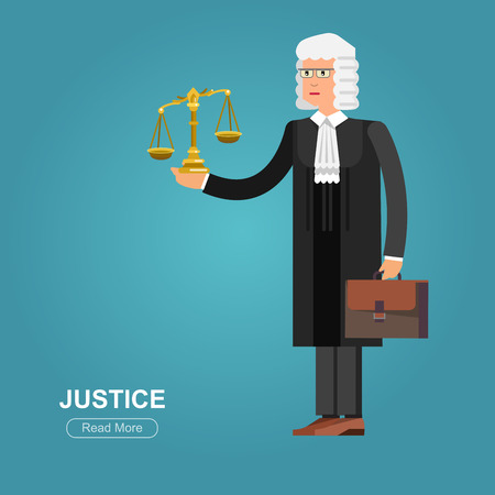 judiciary: Law Vector detailed character the judge. Law cool flat  illustration judge, judge vector. Illustration judge. Character  judge