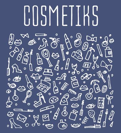 autocuidado: cosméticos del doodle, spa, y los iconos de autocuidado. Dibujado a mano logotipo de cosméticos sin fisuras. Fondos con los cosméticos, embalaje, fondos de pantalla e imprime los textiles cosméticos. ilustración vectorial Vectores
