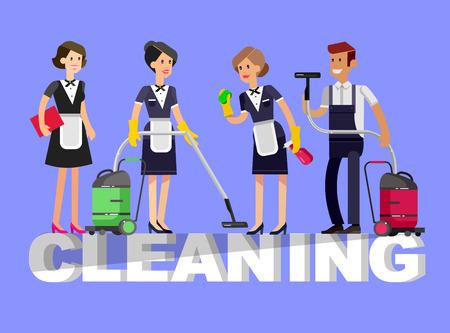 Poster ontwerp voor het reinigen van service en reinigingsmiddelen. Vector gedetailleerde karakter professionele huishoudster. Schoonmaakset iconen op een witte achtergrond. Vector schoonmaken. illustratie schoonmaak