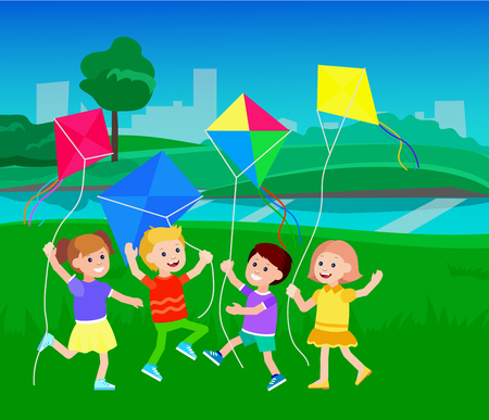flying kites: Cute vector character child. Cheerful child. Kids playing with kites. Vector illustration of children flying kites on the meadow. Detailed character child. Vector for Celebration children day Illustration