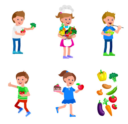 children eating: Cute vector character child and healthy food. Child with vegetables, cooking girl, kid girl chooses between apple and cake, boy eating breakfast. Happy kid illustration. Detailed character child