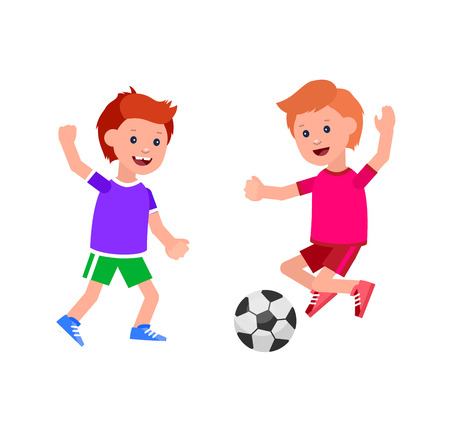 futbol infantil: Cute vector character child playing football. Cheerful child. Happy boy kid illustration. Detailed character child. Vector for Celebration children day, fun child.
